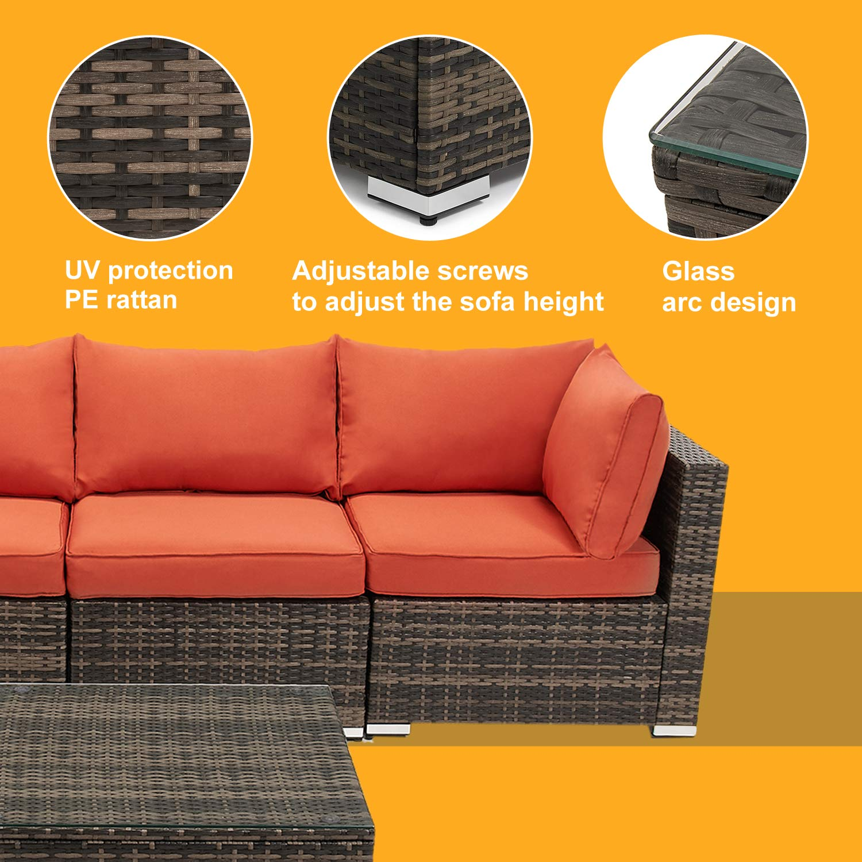 Amazon.com: 7 Pieces Patio Furniture Sets, Outdoor PE Rattan ...