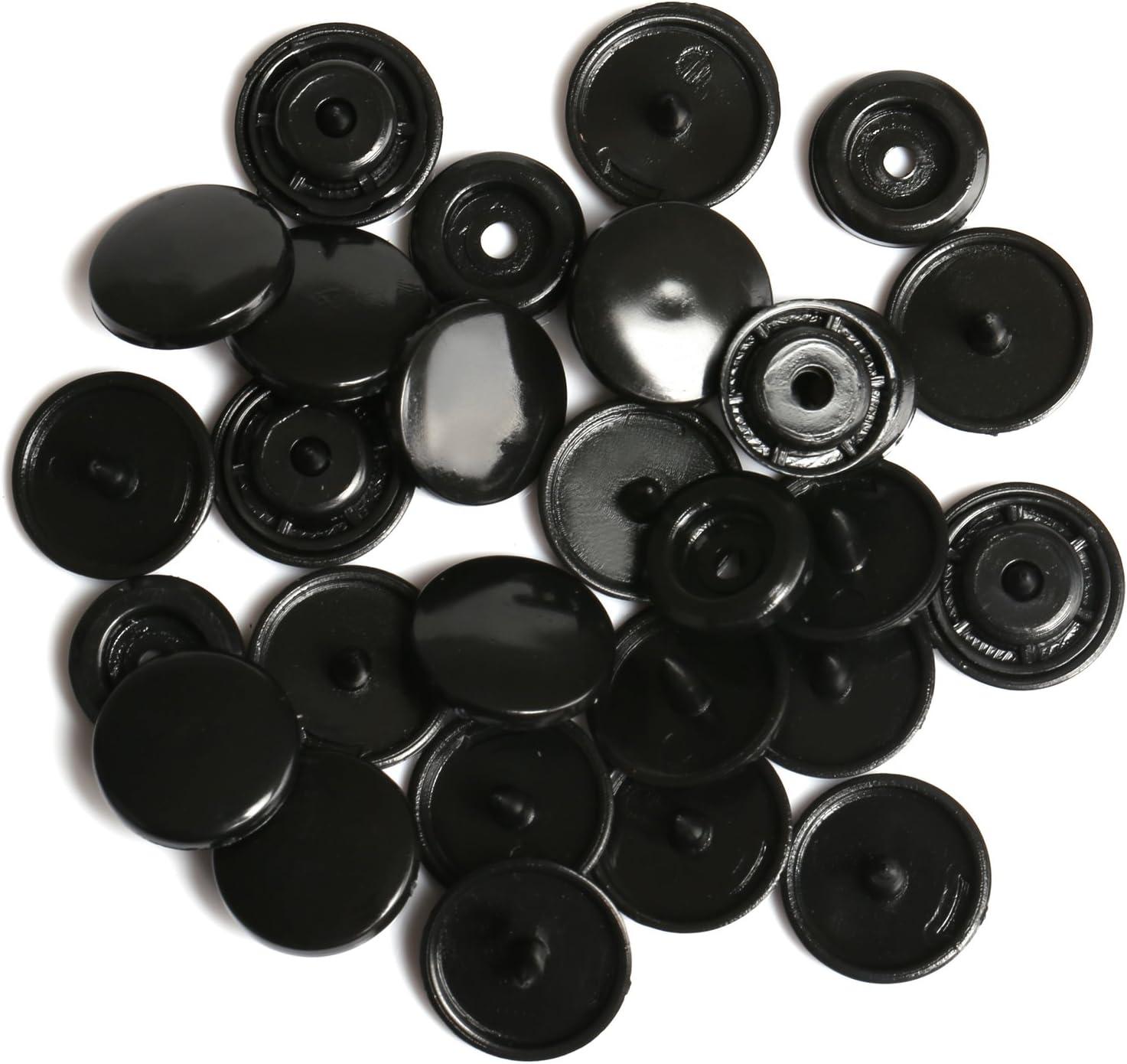 LIHAO Botones Redondos de T5 Plástico para Sujetar y DIY (100 Botones,Negro)