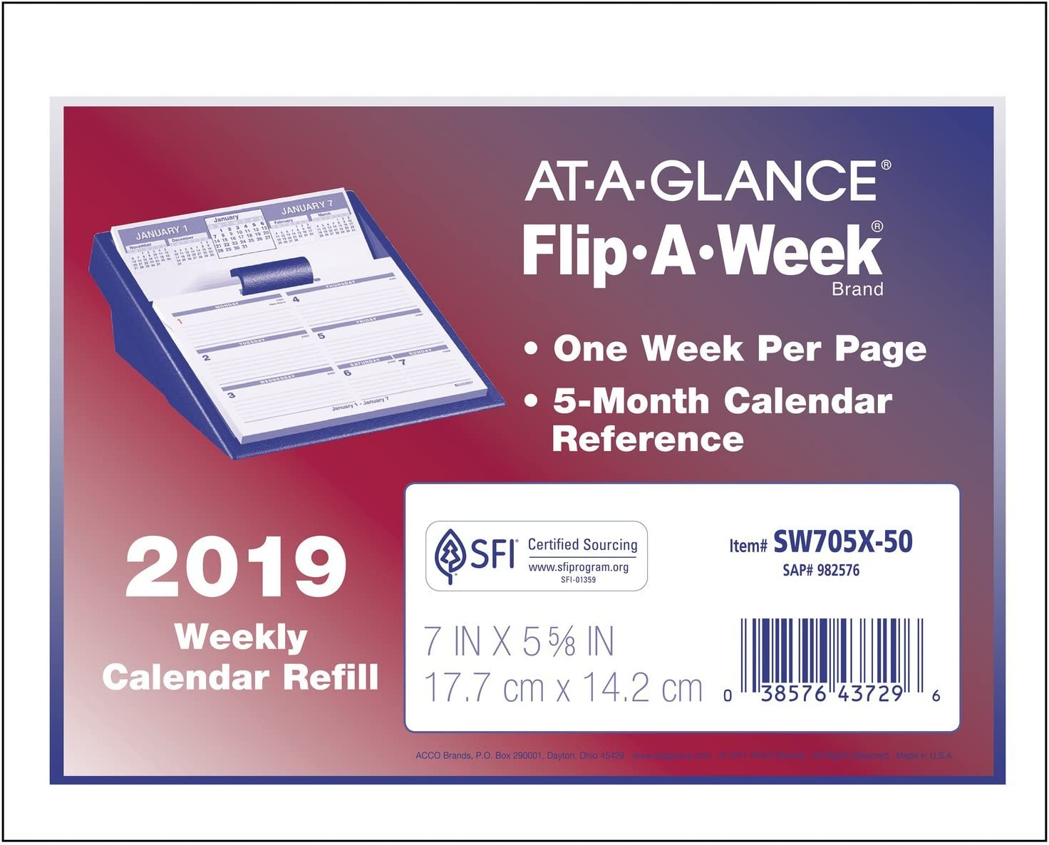5-5//8 x 7 AT-A-GLANCE 2019 Weekly Desk Calendar Refill Flip-A-Week SW705X50