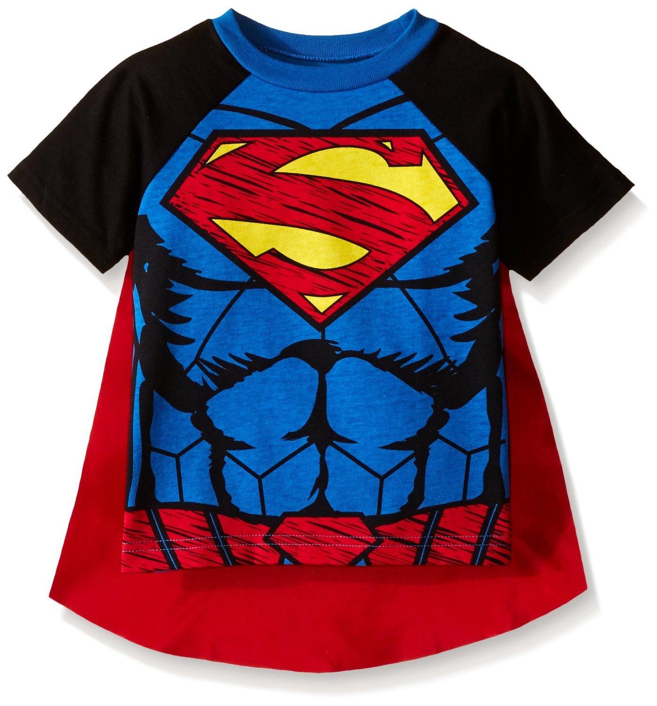 Warner Brothers Toddler Boys Superman Cape T-Shirt Set, Blue, 3T