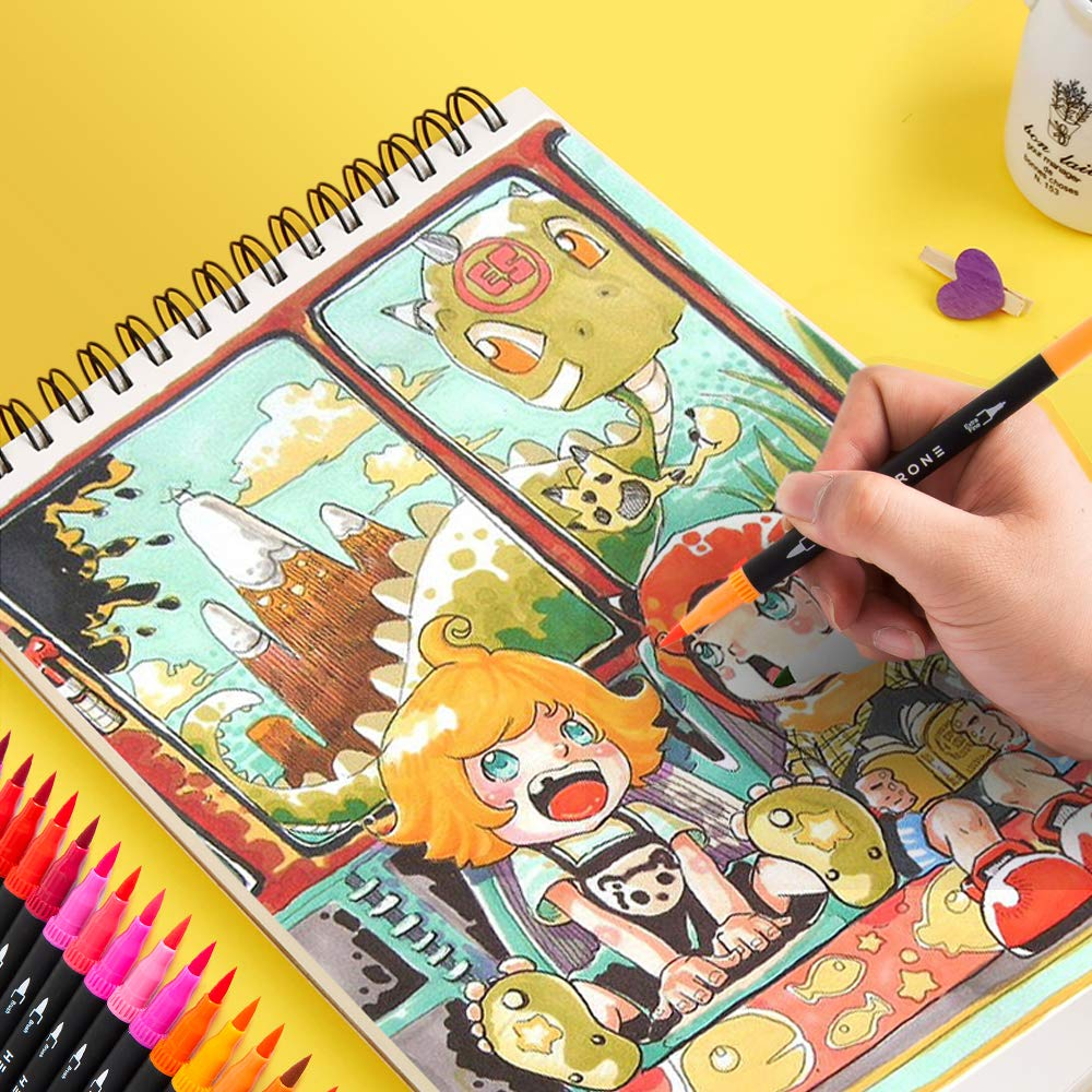 72 Color White Hethrone 72-Color Dual Tip Brush Marker Pens Set with 1-2 mm Soft Flexible Brush Tip and 0.4 mm Fineliner Tip
