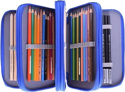 Newcomdigi Estuche Bolso Caja de Lapices Colores 72 Ranuras Portálapices Organizador de Alta Capacidad para Lapices de Colorear Dibujo Acuarela Arte Oficina y Maquillaje Coméstico Azul: Amazon.es: Oficina y papelería