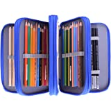 Colored Pencil Case, Newcomdigi 72 Pencil Case Bag Organizer Storage Large Capacity Pen Case Holder with Compartments Multi Layer Pen Pouch Portable For Boy Girl Student School Office Art Craft (Blue)