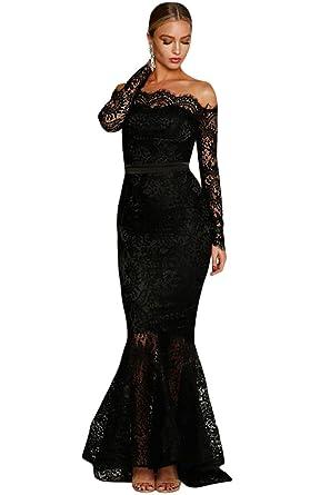 a3c87677b86 Black Eyelash Lace Off Shoulder Long Sleeve Mermaid Dress Size 8-10   Amazon.co.uk  Clothing