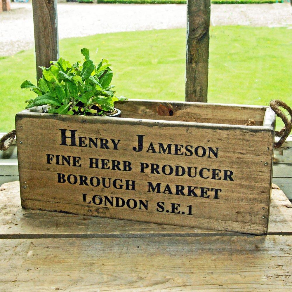 Bluebell Yard Borough Market wooden windowsill herb planter