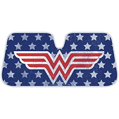 Wonder Woman Red Logo DC Comics Official Licensed Front Windshield Sun Shade-Accordion Folding Auto Sunshade for Car Truck SUV-Blocks UV Rays Sun Visor Protector-Keep Your Vehicle Cool- 58 x 27 Inch: Automotive