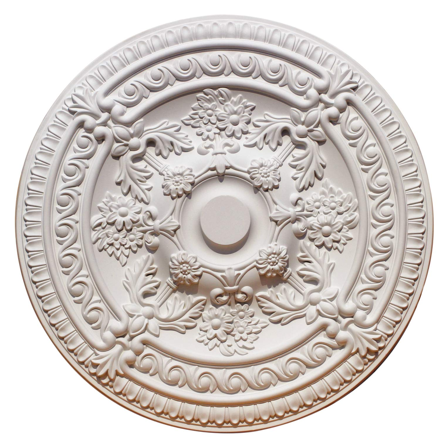 PU Moulding 100% Higher Density Polyethylene 26 inch Ceiling Medallions for Chandeliers Light Ceiling Medallion for Ceiling Fans 26'' OD x 5 1/2'' ID x 2 2/5'' P, White