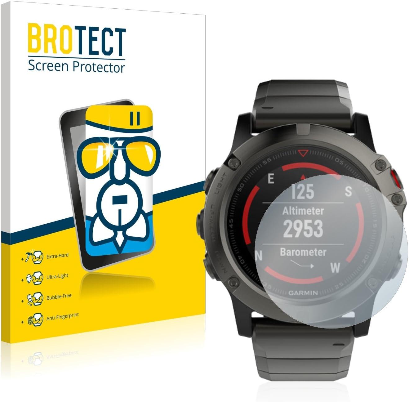 // 5 Plus 47 mm brotect Anti-Reflet Protection Ecran Verre Compatible avec Garmin Fenix 5 Verre Mat 47 mm - Film Protecteur Vitre 9H 3 Pi/èces