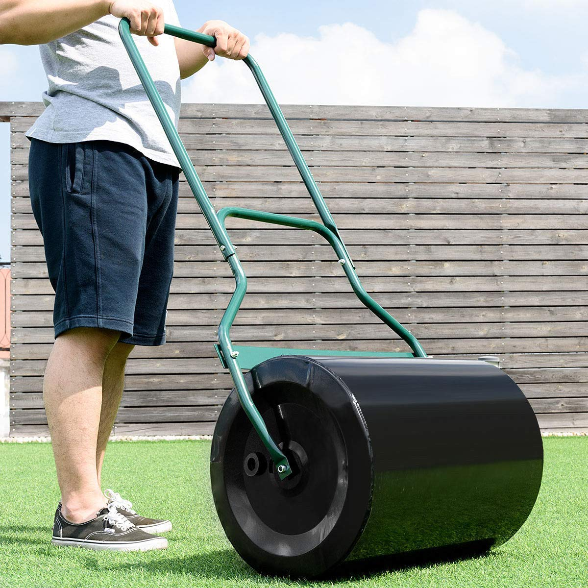 BeUniqueToday Heavy Duty Poly Push Tow Lawn Roller Poly Roller 16 Gallon Roller Capacity
