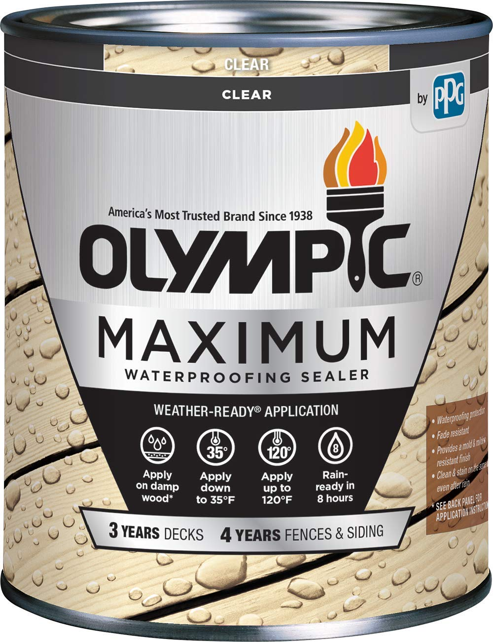 Olympic Stain 56500-04 Maximum Waterproofing Sealant, 1 Quart, Clear