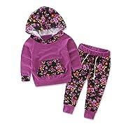 TIFENNY Baby Kids Long Sleeve Floral Print Tracksuit Top +Pants Sets (6M, PP)