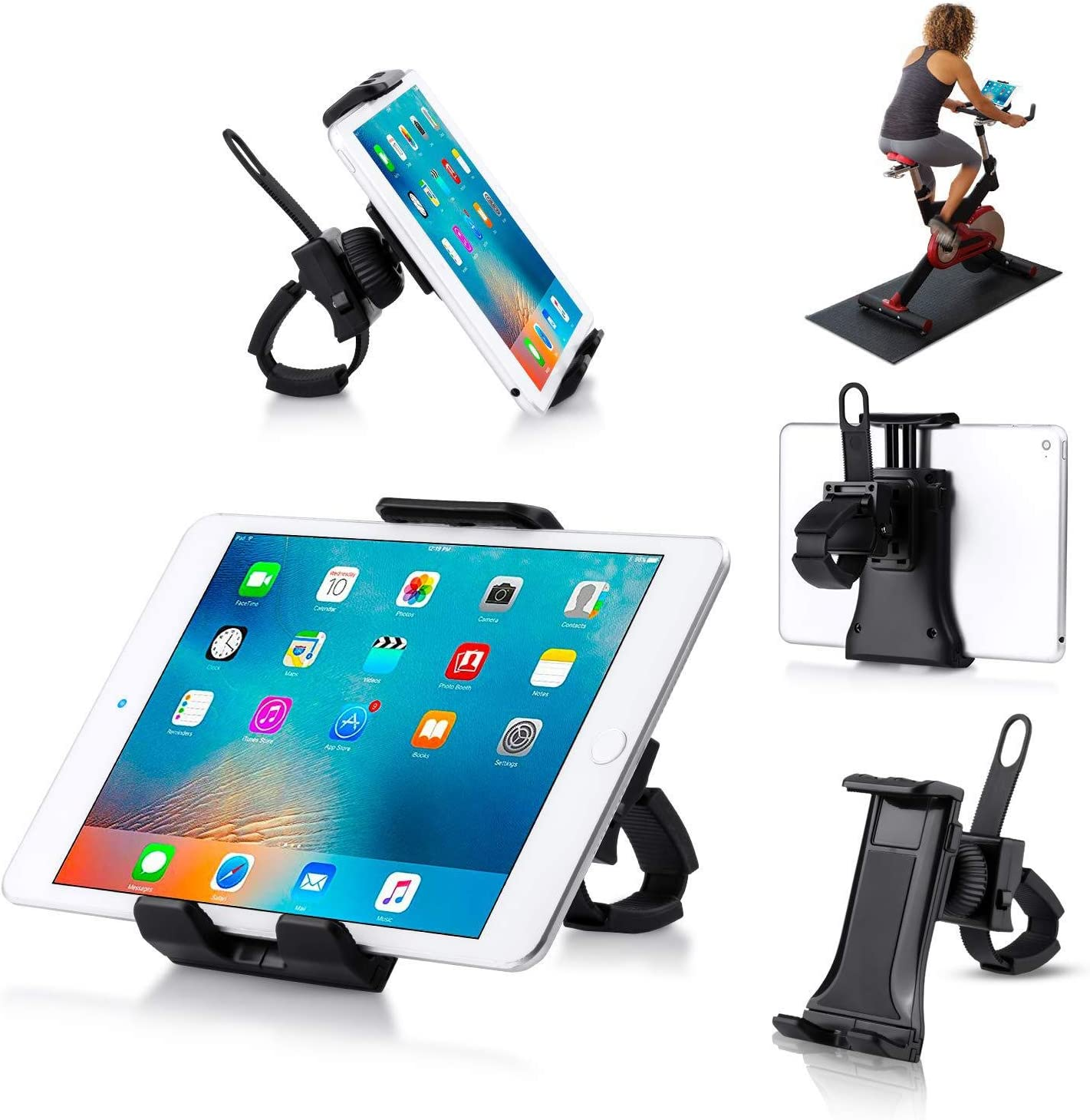 Giosio Universal Treadmill Holder Portable Indoor Cycling Spin Bike Clamp Mount Bicycle Handlebar Bracket Compatible with any Phone & Tablet like iPhone
