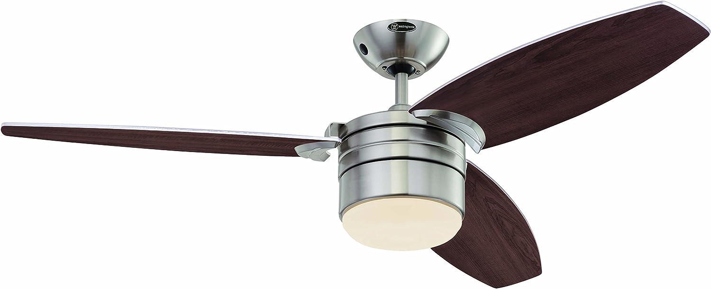 Westinghouse Lighting Lavada Ventilador de Techo R7s, 80 W, Cromo Satinado