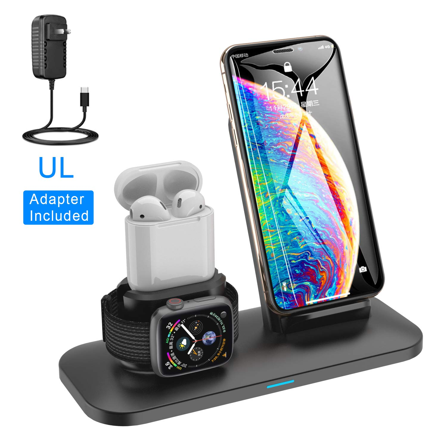 SIMPFUN Wireless Charger W01 Wireless Qi Fast Charging Station for APPL Watch 3/2/1, Air Pods, iPhone Xs/XR/X / 8/8 Plus, Samsung Galaxy S9 / S9 Plus/Note 8 / S8 / S8 Plus by SIMPFUN