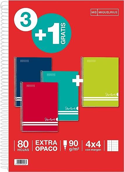 MIQUELRIUS - PACK AHORRO 3+1 - Cuaderno Folio con Espiral, Cubierta de Cartón Rayado, Tamaño 215 x 310 mm, 80 Hojas de 90 g / m2, Cuadrícula de 4 mm con Margen, Colores Intensos: Amazon.es: Oficina y papelería