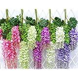 Houda artificiale Wisteria Vine Ratta appeso ghirlanda di fiori di seta per party Home wedding Decor,  pezzi, 3.4-feet, Purple