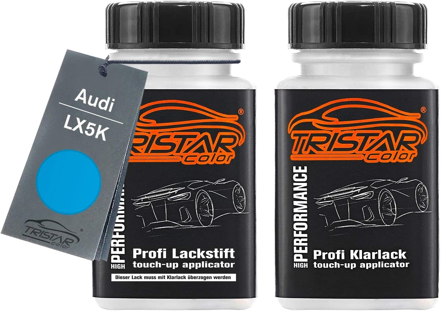 Tristarcolor Autolack Lackstift Set Für Audi Lx5k Hainanblau Metallic Basislack Klarlack Je 50ml Auto