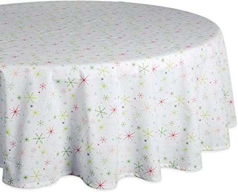 Amazon Com Dii Camz37717 Christmas Star Print Tablecloth 70 Round Home Kitchen