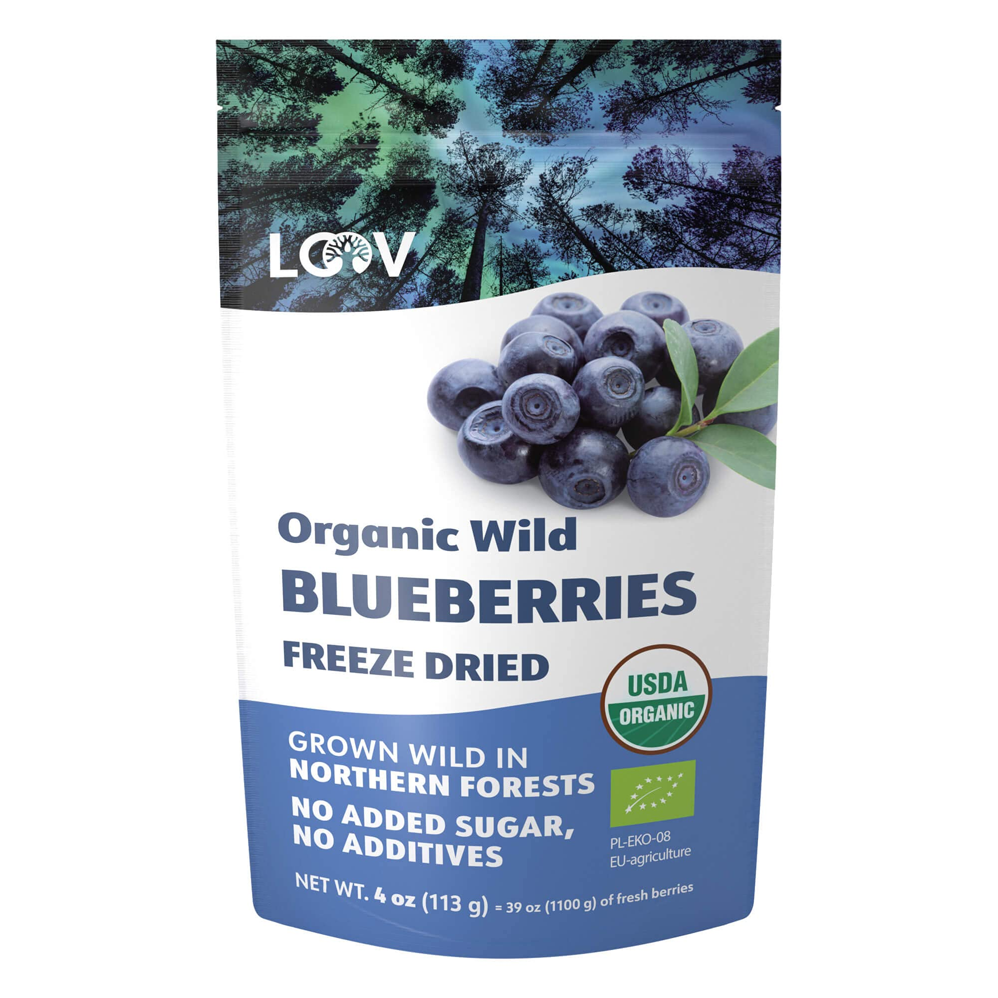 LOOV Wild Organic Dried Blueberries, No Added Sugar, No Added Oil, 113 Grams, Freeze Dried Wild Blueberries From Nordic Forests, 100% Whole Fruit Wild Blueberries, Non-GMO, Unsweetened Dried Fruit