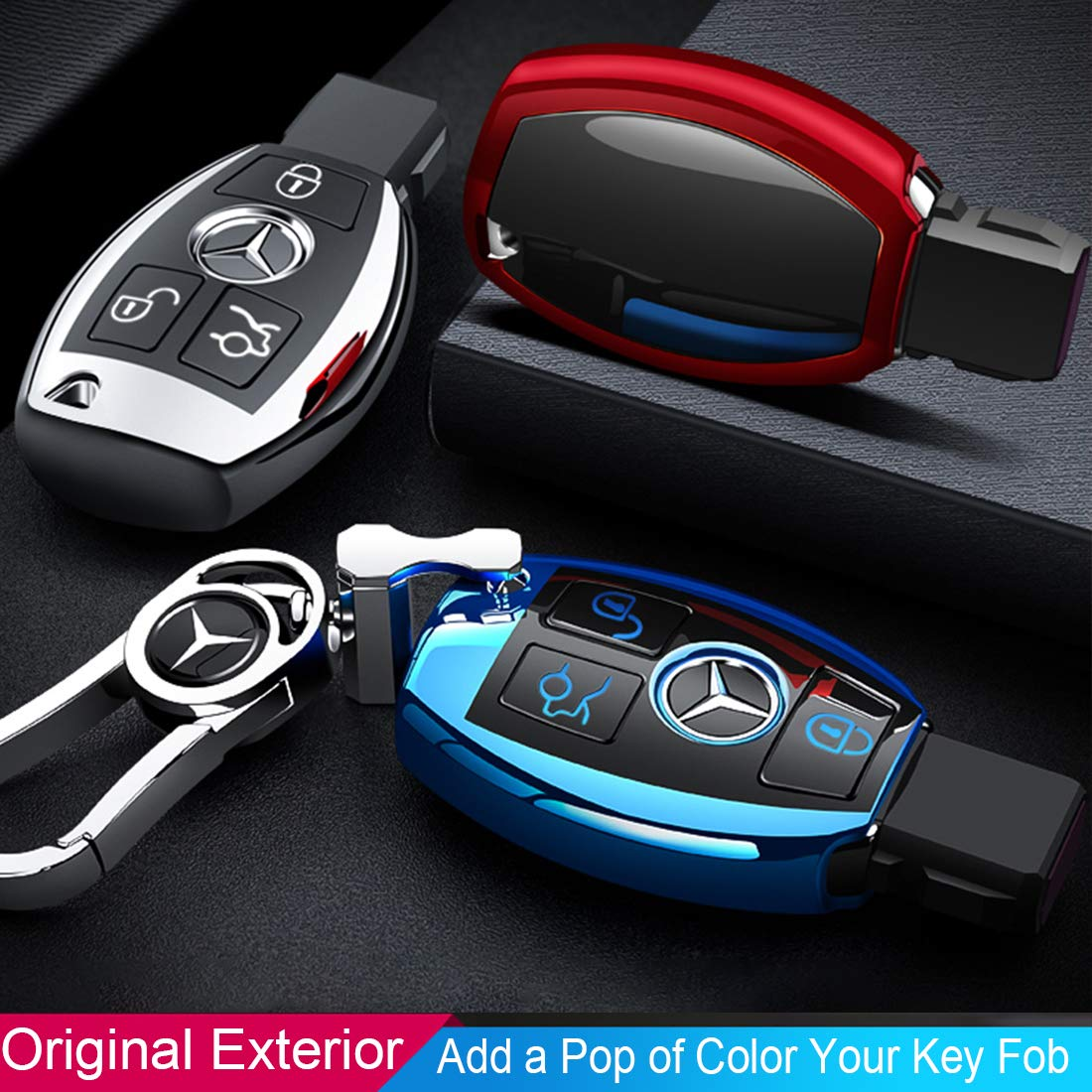Intermerge for Mercedes Benz Key Fob Cover Premium Soft TPU Key Case Cover Compatible with Mercedes Benz C E S M CLS CLK G Class Keyless Smart Key Fob/_Gold Color