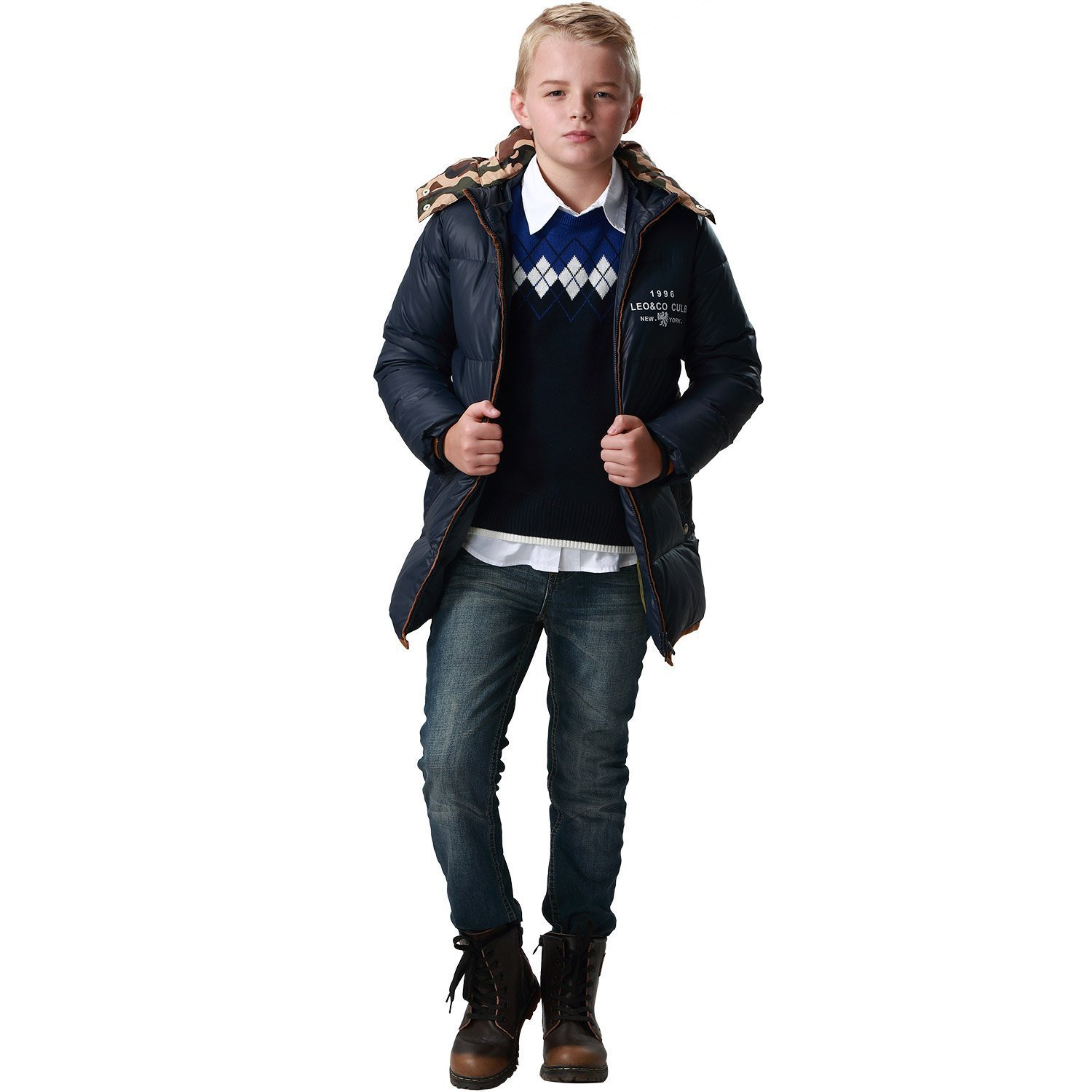 32c60970377c Amazon.com  Leo Lily Big Boys Winter Long Down Padded Puffer Jacket with  Hood  Clothing