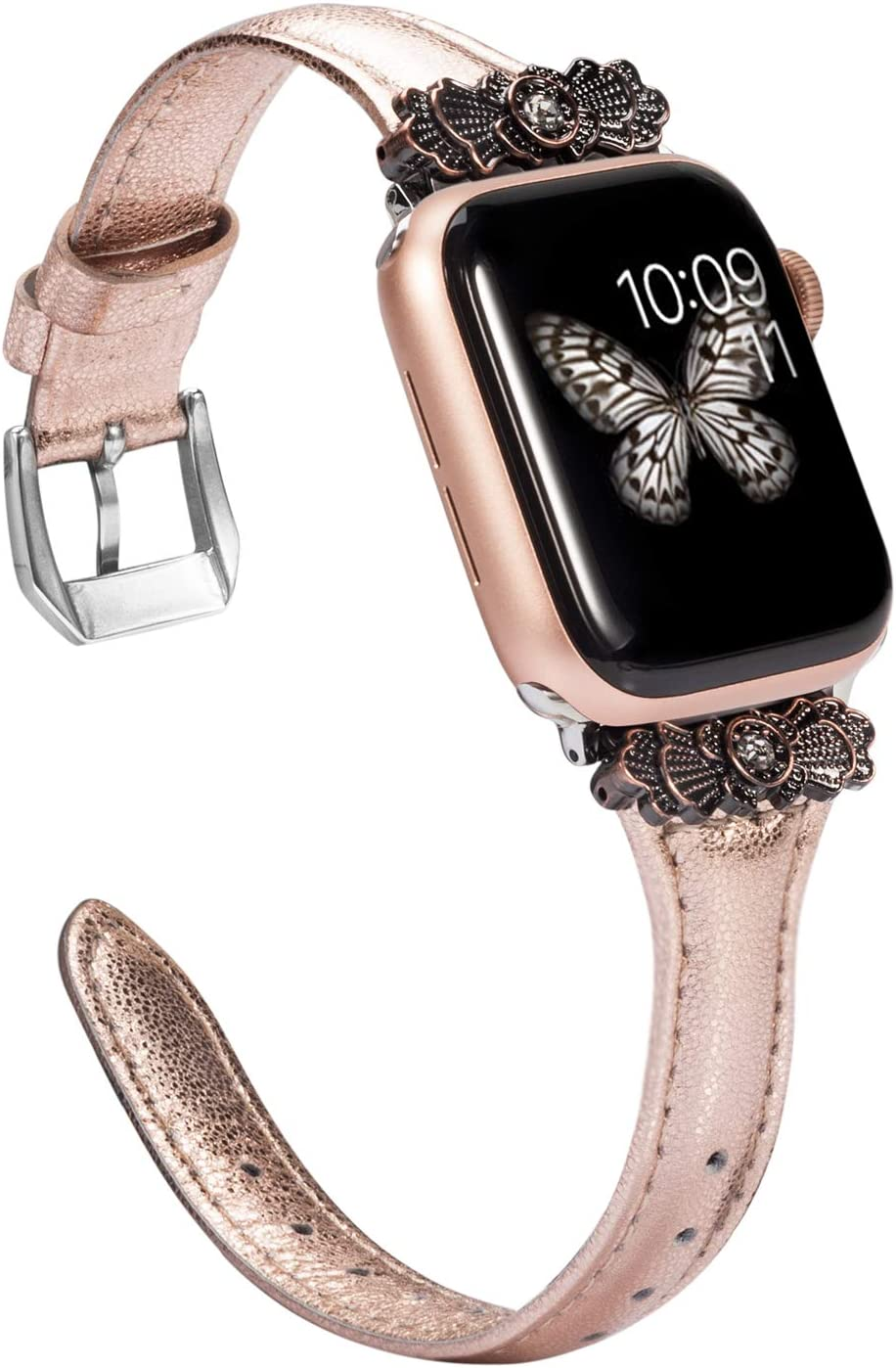 Wearlizer Rose Gold Thin Leather Compatible with Apple Watch Band 38mm 40mm for iWatch SE Womens Slim Metal with Unique Decoration Strap Wristband Bracelet (Silver Clasp) Series 6 5 4 3 2 1
