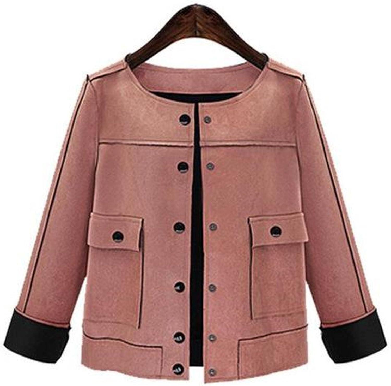 Jeff Tribble Women Short Jacket Fashion Autumn Slim Vintage Chamois Leather Suede Plus Size 3xl 4xl 5xl