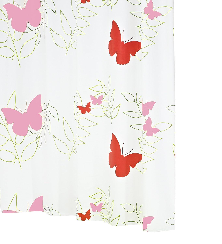 Ridder 326060-350 - Tenda per la doccia Folie, anelli inclusi, 180 x 200 cm, decorazione: farfalle, colore: Rosso Ridder GmbH 32606S-350