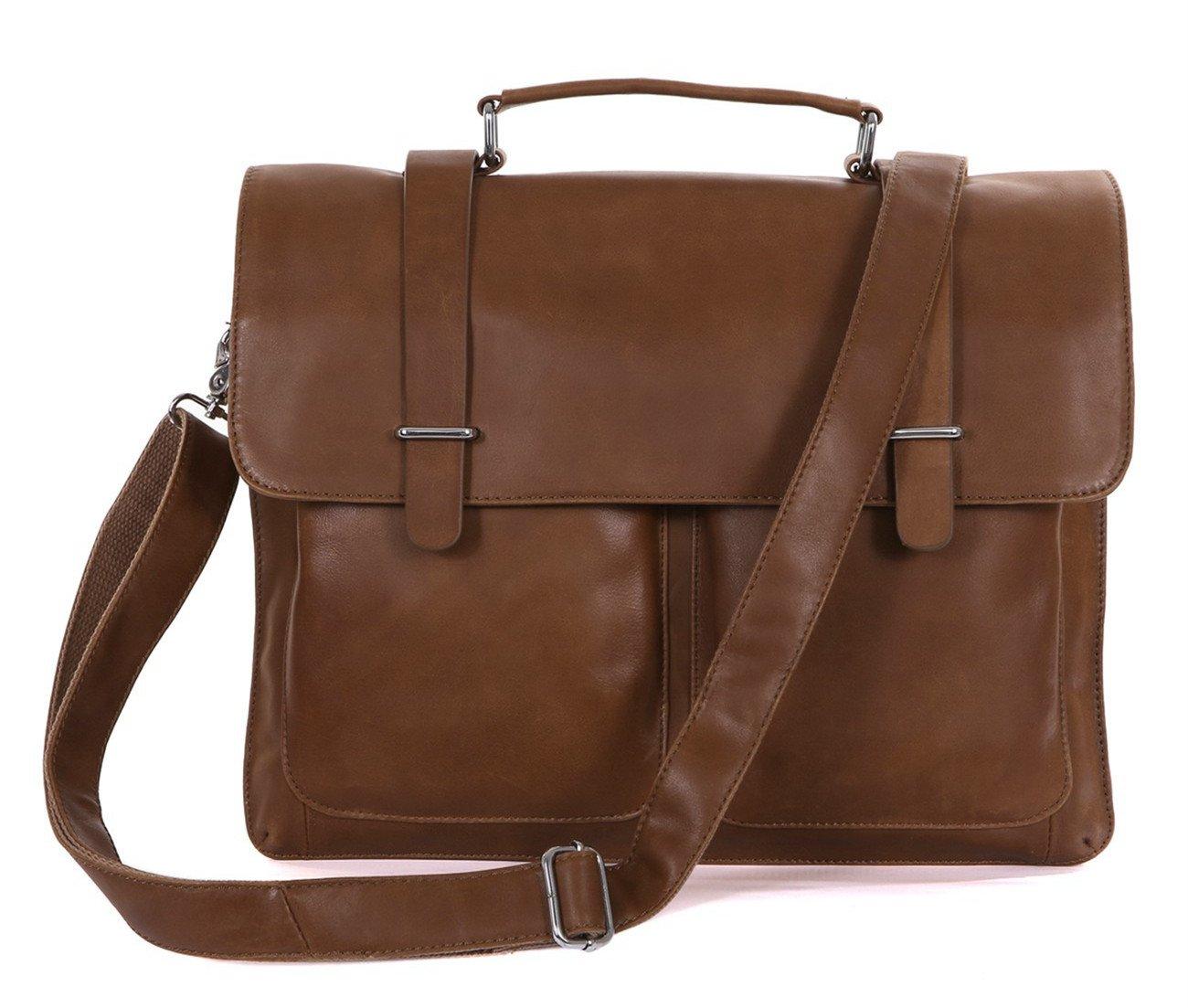 DRF Leather Business Messenger Bag Satchel Briefcase for Men Laptop Office Bag BG-263 (Brown) by DRF (Image #1)