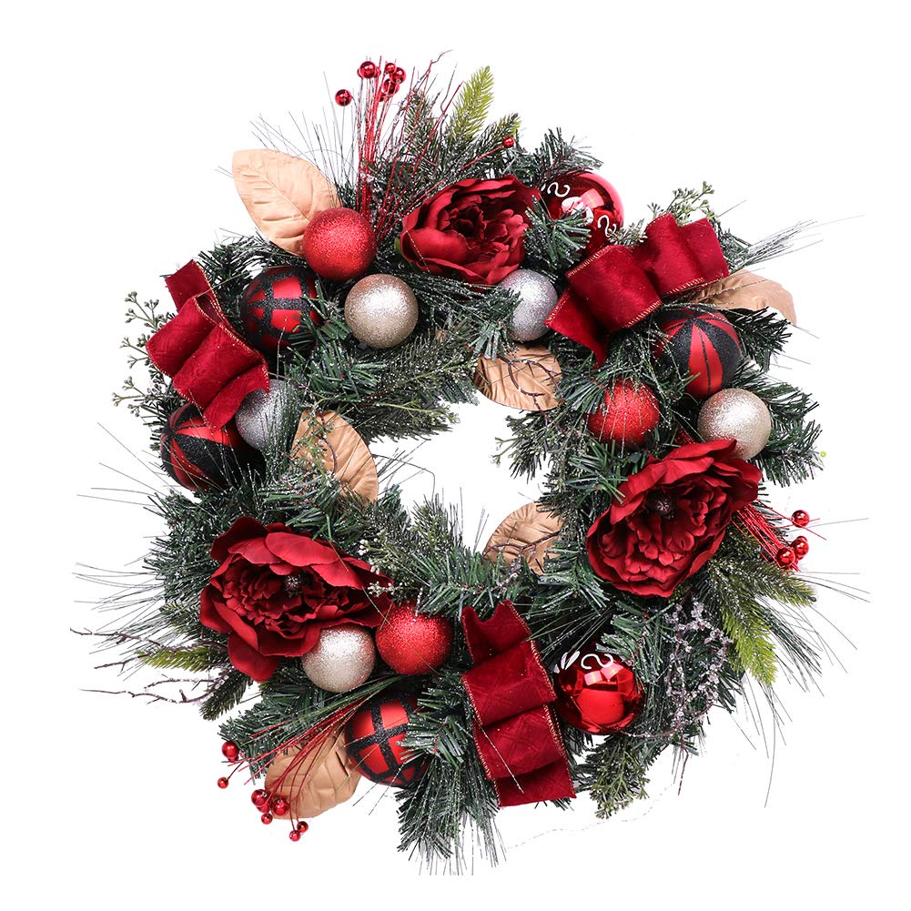 V&M VALERY MADELYN Christmas Wreath Pre-Lit 24'' Red & Black Artificial Greenery Spruce Wreath, Decorative Wreath with Christmas Ball Ornaments and Ribbon, Battery Operated 20 LED Lights.