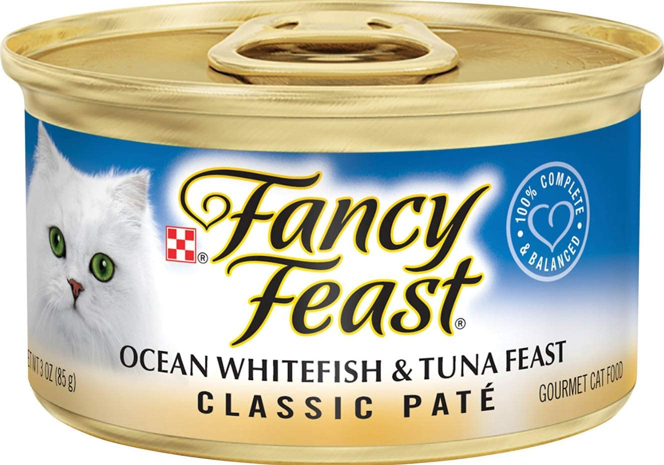 Purina 30 Cans of Fancy Feast Classic Ocean Whitefish Tuna Feast Canned Cat Food, 3-oz ea