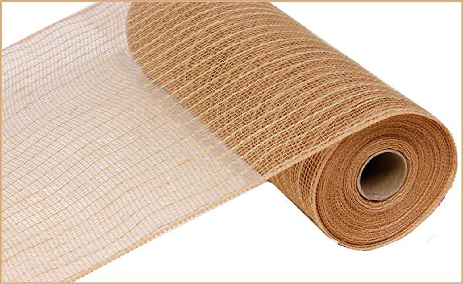 Poly Jute Burlap Deco Mesh, 10.5 Inches x 10 Yards (Natural) : RY800518