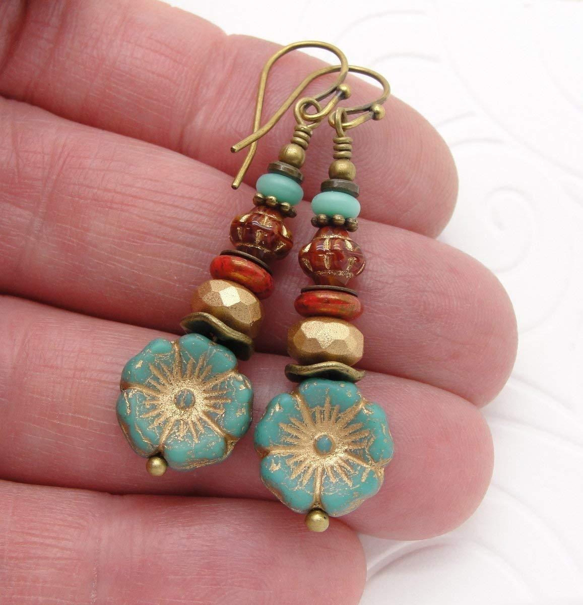 Southwestern Earrings with Flowers in Red n Blue