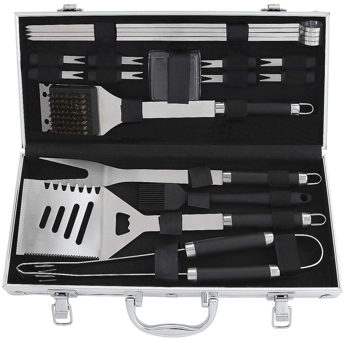 POLIGO 19PCS BBQ Accessories Set Stainless Steel Barbecue Grilling Utensils Kit Set with Aluminum Case for Camping – Premium BBQ Grill Tools Kit – Ideal BBQ Gifts Set for Birthday Christmas Men Women