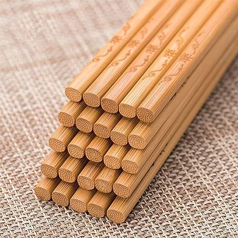 CQSMOO Palillos Los Palillos de Madera de bambú fijaron 20 Pares de vajillas del Restaurante japonés Chino by: Amazon.es: Hogar