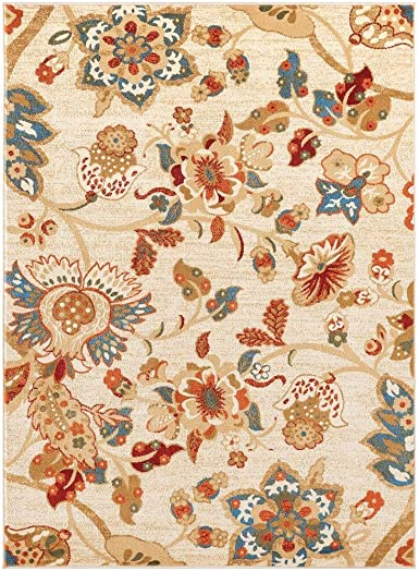 Luxe Weavers Howell Collection Oriental Floral 8×10 Ivory Area Rug