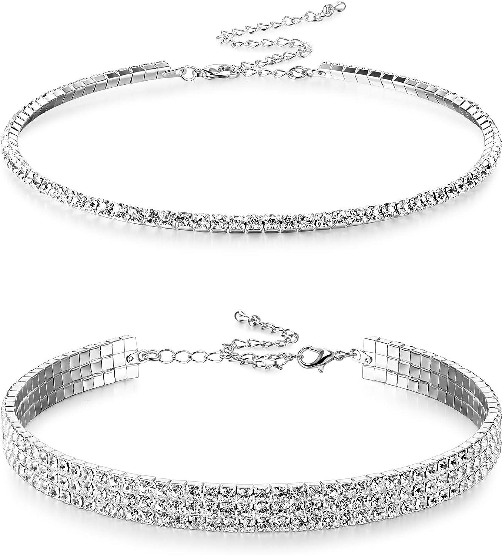 2 Piezas Collares Gargantillas de Diamante de Imitación Collar Gargantilla de Cristal de Mujeres de 1 y 3 Filas