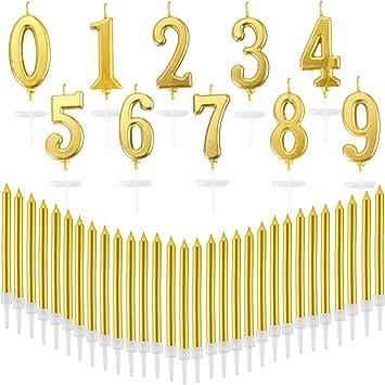 Nuanchu 40 Piezas Número de Cumpleaños Velas Metallic Cake ...