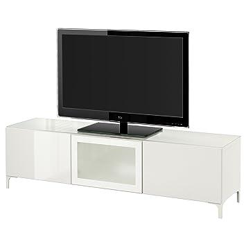Ikea Besta Tv Bank Mit Turen Weiss Amazon De Elektronik