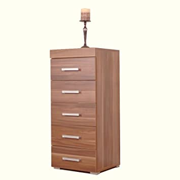 78a6437cfe00 5 Drawer Tall Boy Chest of Drawers Bedroom Furniture Narrow Chest Walnut  Effect