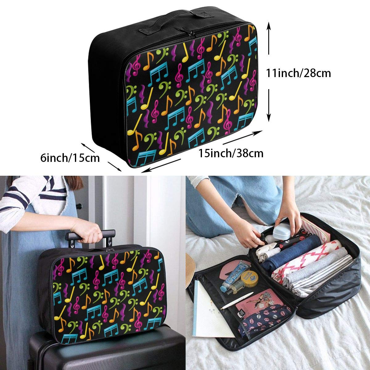 Travel Luggage Duffle Bag Lightweight Portable Handbag Music Notes Pattern Large Capacity Waterproof Foldable Storage Tote