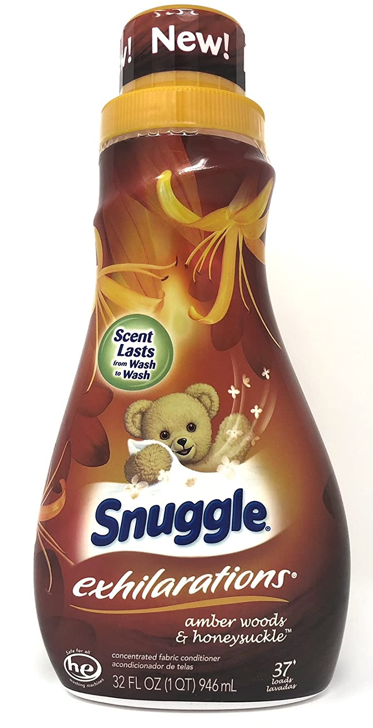Amazon.com: Snuggle Exhilarations Liquid Fabric Softener, Amber Woods & Honeysuckle, 32 Fluid Ounces, 37 Loads (Pack of 2): Health & Personal Care