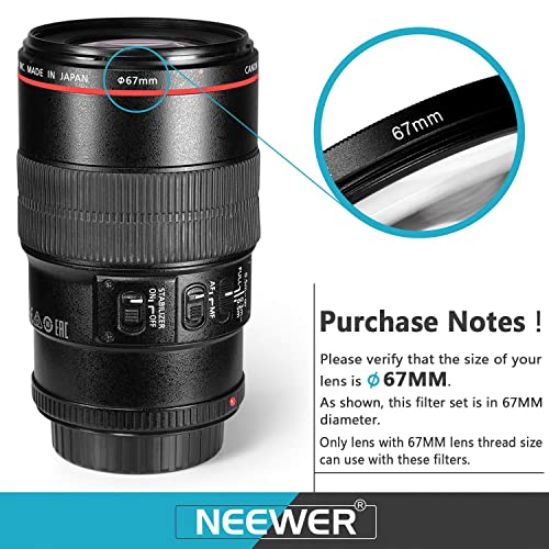 Neewer 67MM Camera Lens Filter Kit with 67MM Close up Macro Filters ND Filters(ND2 ND4 ND8) and UV CPL FLD Filters Lens Hood and Other Accessories for Lenses with 67MM Filter Size