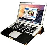 MacBook 12 ケース Jisoncase® case for マックブック エアー カバー PUレザー ファッション ブック型 薄型 防塵 スタンド機能 通風孔付き 放熱構造 耐摩擦 耐汚れ 手作り ハンドメイド 全三色 生涯保障(ブラック JS-AIR-07R10)