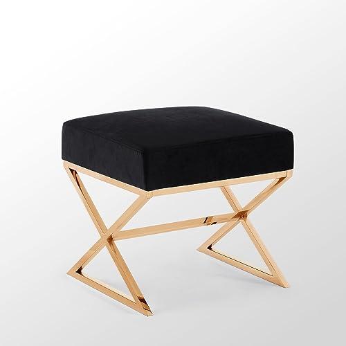 Inspired Home Aurora Black Velvet Upholstered Ottoman – Stainless Steel Gold X-Legs Bedroom 1 pc ONLY