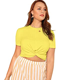 4aa502f04 Romwe Women's Front Twist Short Sleeve Plus Size Crop T-Shirt Tops Blouse