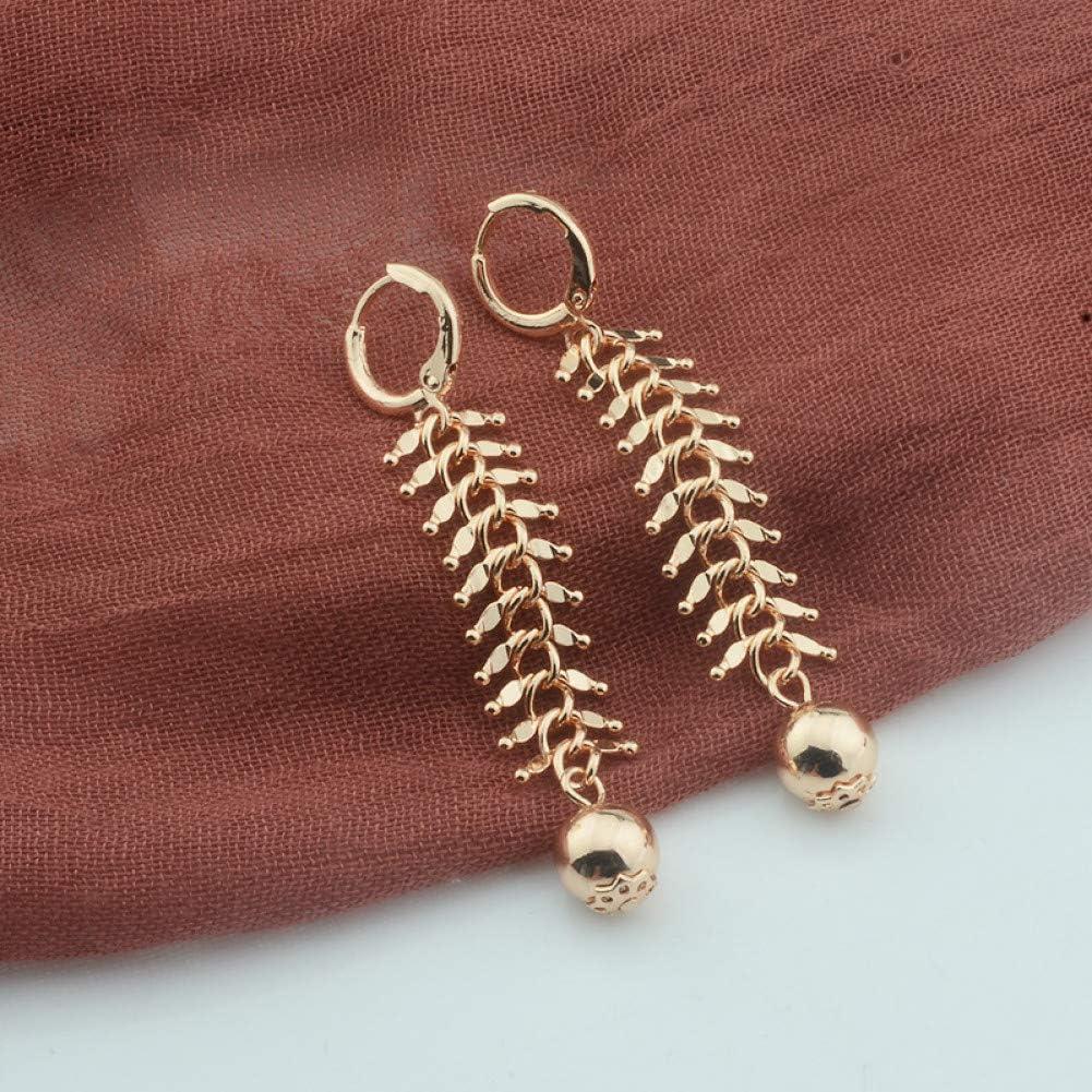 ZHQJY Pendientes de Bolas Redondas de 10 mm de Ancho para MujerPendientes Colgantes de Color Oro Rosa Joyas de Cobre