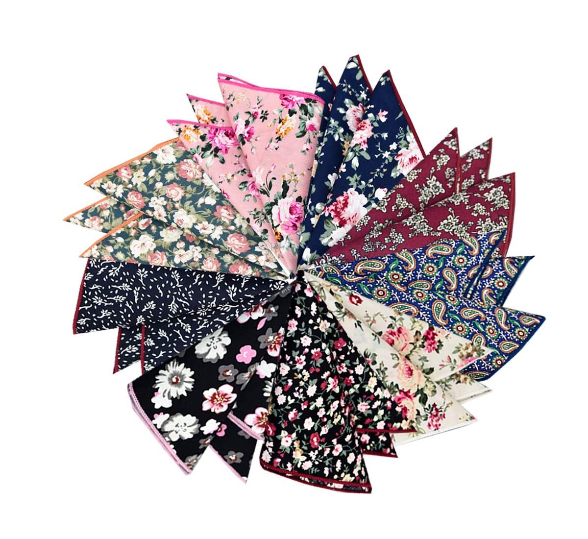 BonjourMrsMr Assorted Pack Mens Floral Cotton Pocket Square for suits Handkerchiefs
