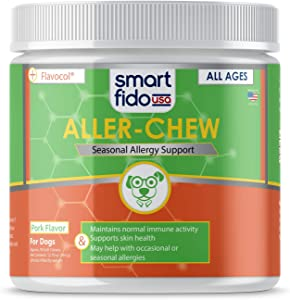 """Smart Fido Smart Fido Aller-Chew 90 Ct Soft Chews for Dogs """" with Apple Cider Vinegar to Support Seasonal Allergies, Skin Irritation & Discomfort"""