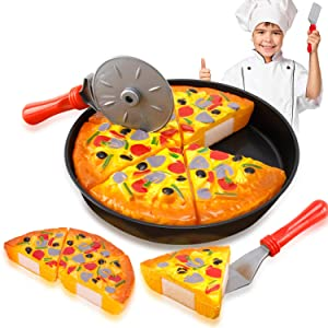 Liberty Imports Slice & Serve Pretend Play Cutting Foods Set | Kitchen Fun Cuttable Food Toys | Early Development Educational Gift for 3, 4, 5, 6 Year Old Kids, Boys, Girls (Pizza Pie)